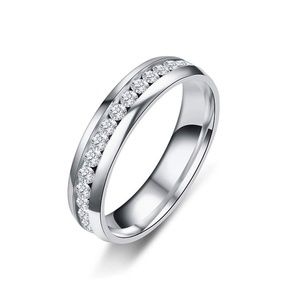 Mens Women silver Stainless Steel CZ Crystal Ring